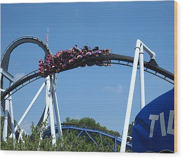 Hershey Park - Great Bear Roller Coaster - 121215 Wood Print by DC Photographer
