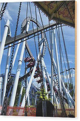 Hershey Park - Great Bear Roller Coaster - 121216 Wood Print by DC Photographer