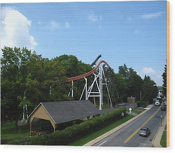 Hershey Park - Great Bear Roller Coaster - 12124 Wood Print by DC Photographer