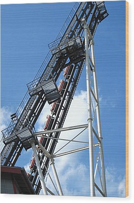 Hershey Park - Sidewinder Roller Coaster - 12121 Wood Print by DC Photographer