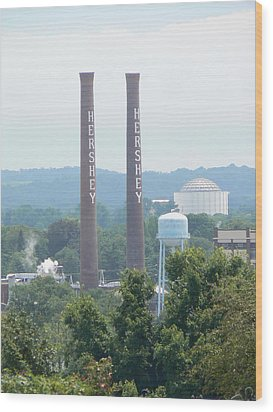 Wood Print featuring the photograph Hershey Smoke Stacks by Michael Porchik