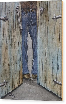 Wood Print featuring the painting Blue Jeans Looking Good by Kelly Mills