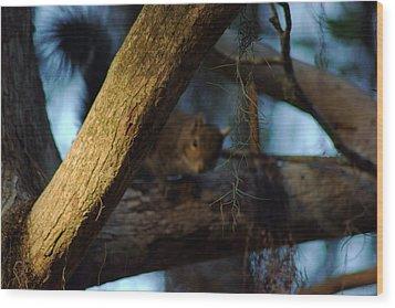 He's Watching You Wood Print by Daniel Woodrum