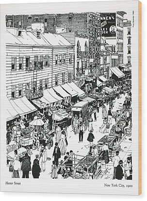 Wood Print featuring the drawing Hester Street by Ira Shander