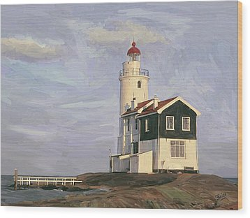 Wood Print featuring the painting Het Paard Light House by Nop Briex