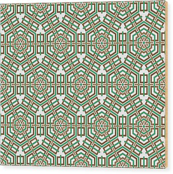 Hexagon And Square Pattern Wood Print by Jozef Jankola