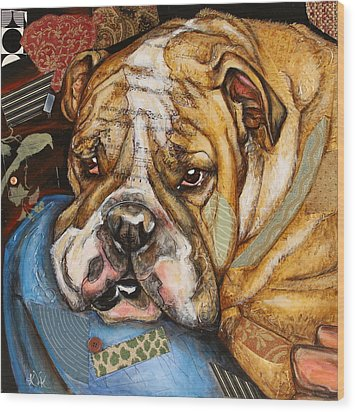 Hey Bulldog Wood Print