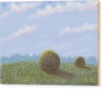 Hey I See Hay Wood Print by Stacy C Bottoms