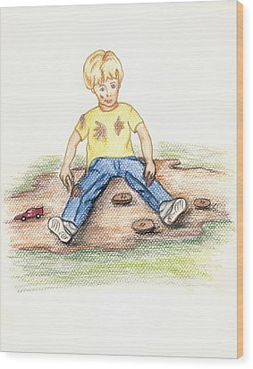 Wood Print featuring the pastel Hez by Kim Pate