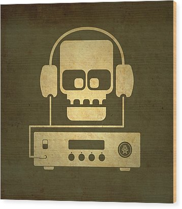 Hi Fi Skull Wood Print by Milton Thompson