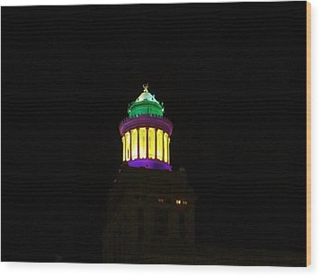 Hibernia Tower - Mardi Gras Wood Print by Deborah Lacoste