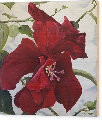Double Hibiscus Wood Print