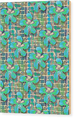 Hibiscus Blue Water Wood Print