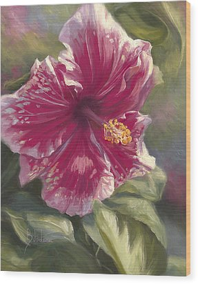Hibiscus In Bloom Wood Print by Lucie Bilodeau
