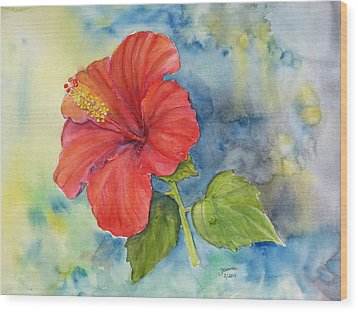 Wood Print featuring the painting Hibiscus  by Janina  Suuronen
