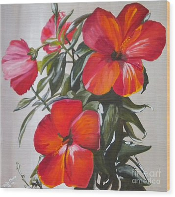 Wood Print featuring the painting Hibiscus by Judy Morris