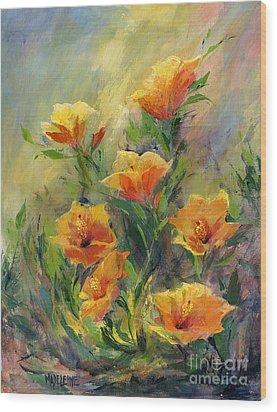 Hibiscus Wood Print by Madeleine Holzberg