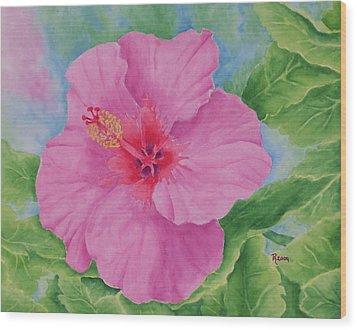 Hibiscus Wood Print by Rhonda Leonard