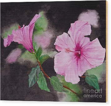 Hibiscus - So Pretty In Pink Wood Print