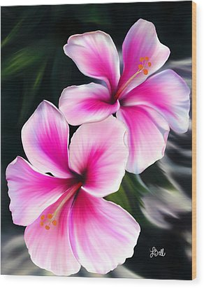 Wood Print featuring the painting Hibiscuses by Laura Bell