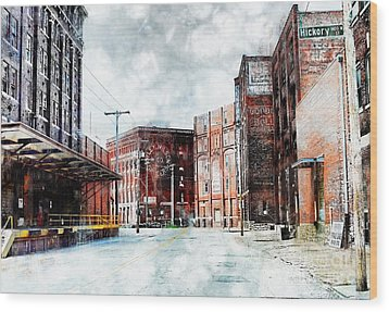 Hickory - Urban Building Row Wood Print by Liane Wright