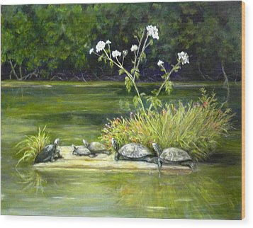 Wood Print featuring the painting Hicks' Turtles by Sandra Nardone