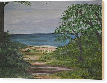 Wood Print featuring the painting Hidden Beach by Debbie Baker