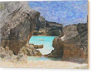 Wood Print featuring the photograph Hidden Beach by Verena Matthew
