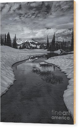 Hidden Beneath The Clouds Wood Print by Mike  Dawson