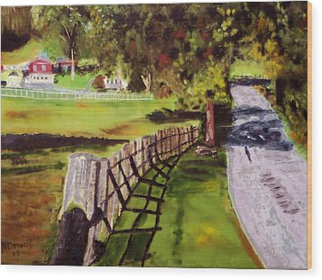 Wood Print featuring the painting Hidden Brook Farm by Michael Daniels