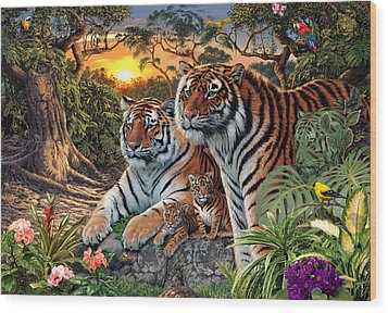 Hidden Images - Tigers Wood Print by Steve Read