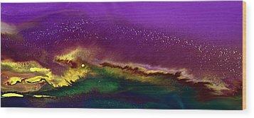 Hidden Moon Fluid Art By Kredart Wood Print by Serg Wiaderny