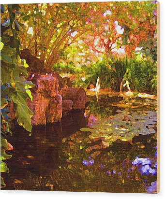 Hidden Pond Wood Print by Amy Vangsgard