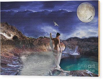 Wood Print featuring the digital art Hidden River by Liane Wright