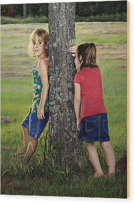 Wood Print featuring the painting Hide And Seek by Glenn Beasley