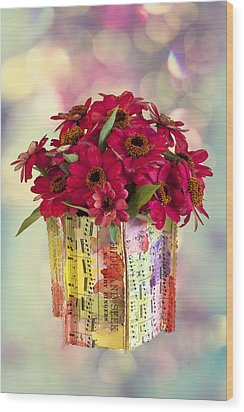 Wood Print featuring the photograph Hide And Seek Zinnias by Sandra Foster
