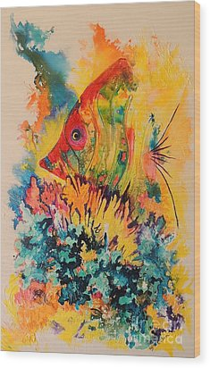 Wood Print featuring the painting Hiding Amongst The Coral by Lyn Olsen