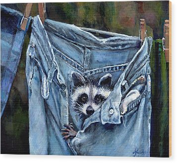 Hiding In My Jeans Wood Print by Donna Tucker