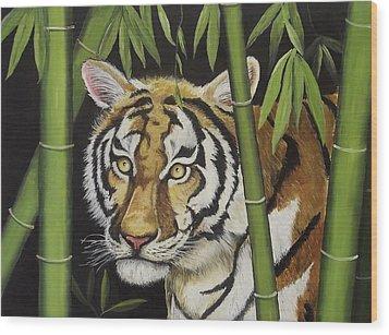 Hiding In The Bamboo Wood Print by Wanda Dansereau
