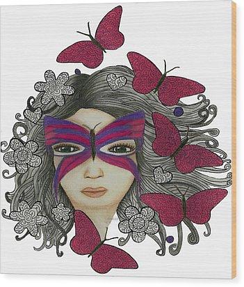 Hiding Me Pencil Drawing By Saribelle Rodriguez Wood Print