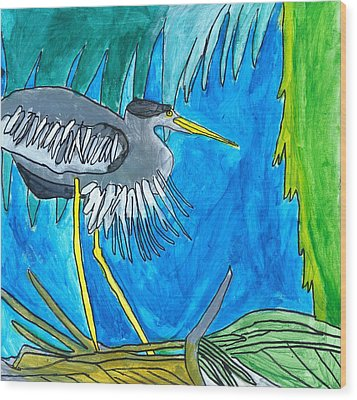 Wood Print featuring the painting Hidingbird by Artists With Autism Inc