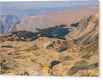 High Altitude Lakes Wood Print by Sue Smith