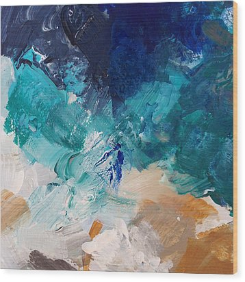 High As A Mountain- Contemporary Abstract Painting Wood Print by Linda Woods