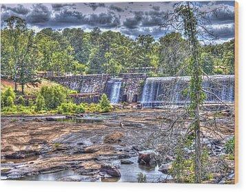 High Falls Dam Wood Print by Donald Williams