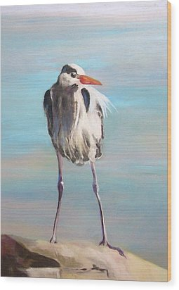 High Falls Heron Wood Print by Debbie Anderson