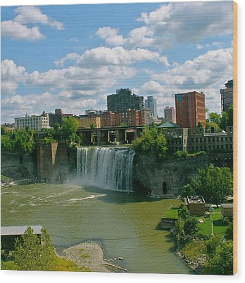 High Falls Rochester  Wood Print by Justin Connor