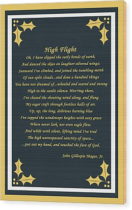 High Flight Wood Print by Cecil Fuselier