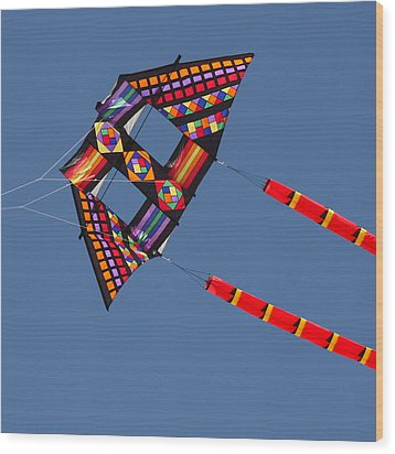 High Flying Kite Wood Print by Art Block Collections