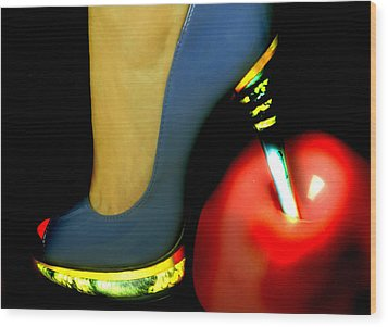 High Heel Wood Print by Christine Sponchia