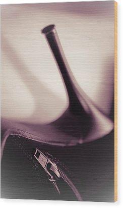 High Heel Of A Brown Shoe Wood Print by Vlad Baciu
